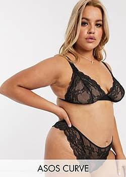 ASOS DESIGN Curve Eliza lace thong-Black