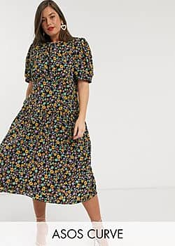 ASOS DESIGN Curve midi tea dress with dropped waist in floral print-Multi