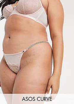 ASOS DESIGN Curve Sophia tanga thong with lace & diamonte strap-Pink