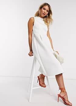 high neck sleeveless midi prom dress with lace up back in white
