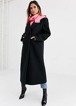 hybrid coat with padded underlayer in black
