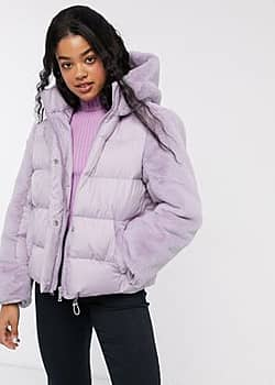 hybrid faux fur panelled puffer jacket in lilac-Purple