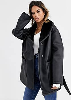 luxe leather look wrap over jacket in black