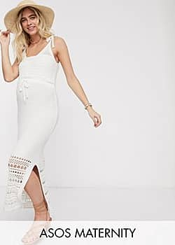 ASOS Maternity crochet knit midi dress with tie waist-Cream