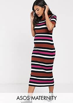 ASOS Maternity knitted stripe midi dress-Multi
