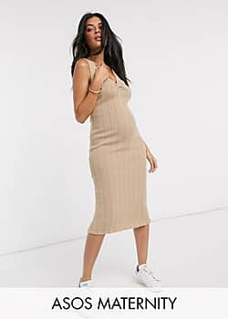 ASOS Maternity ruched front knitted midi dress-Stone