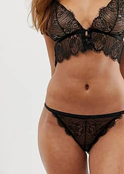 Rebecca eyelash lace brief-Black