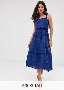 ASOS DESIGN Tall broderie cami midi prom dress with lace inserts-Navy
