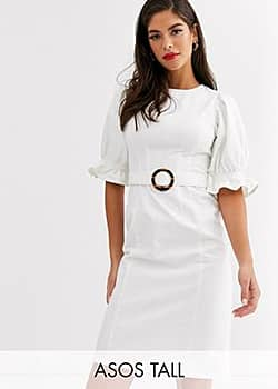 ASOS DESIGN Tall denim midi dress with puff sleeve in white