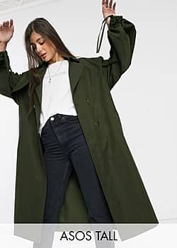 ASOS ASOS DESIGN Tall extreme sleeve trench coat in khaki-Green