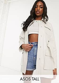 ASOS ASOS DESIGN Tall four pocket belted faux leather jacket in white