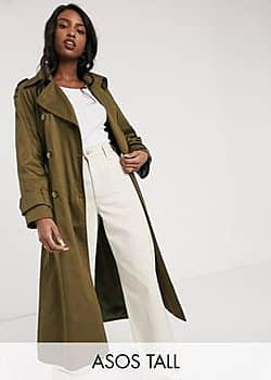 ASOS ASOS DESIGN Tall longline trench coat in khaki-Green