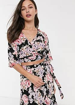 Band of Gypsies Band Of floral print crop top co-ord-Black