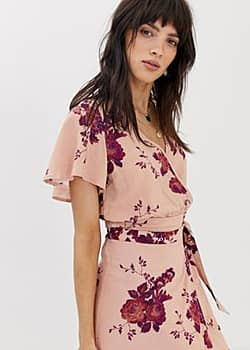 flutter sleeve top co-ord in floral print-Pink