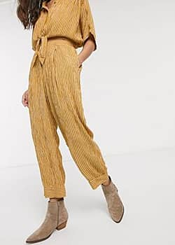 pleated trousers-Yellow