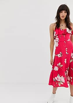ruffle front button down midi dress in pink floral print