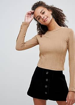 Bershka ribbed long sleeve top with popper detail-Beige
