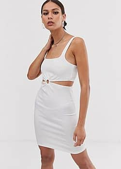 Bershka ring front bodycon dress in white