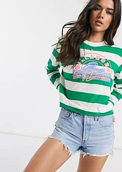 Run Away striped long sleeved t-shirt with front print-Green