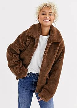 Blend She Teddy's zip thru faux fur jacket-Brown
