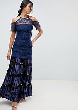 Body Frock Bodyfrock Cold Shoulder Lace Maxi Dress With Pleated Skirt-Navy
