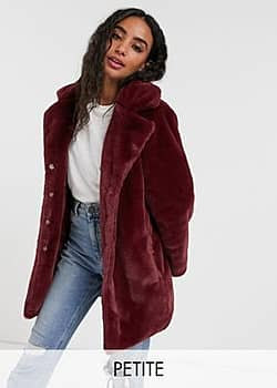 clare faux fur coat-Red