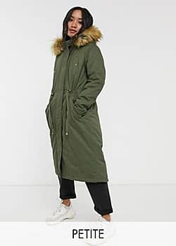 genevive maxi parka coat-Green