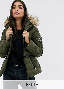 wizard padded coat with faux fur hood-Green