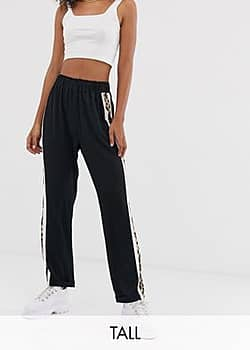 Brave Soul kiss trousers with leopard side stripe-Black