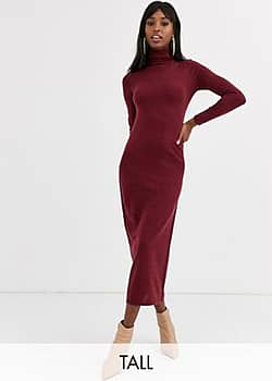Brave Soul maxi dress with roll neck in berry-Red