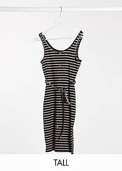 Brave Soul pallas striped button through jersey dress with tie waist in black