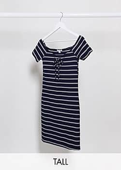 Brave Soul tie front striped jersey dress in navy