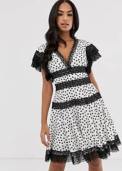 Bronx and Banco Bronx & Banco Brenda polka dot mini dress with lace trim-White
