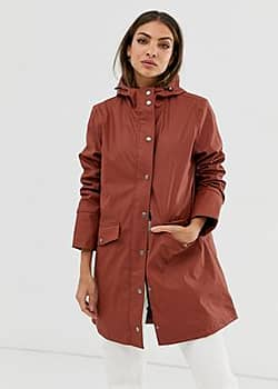 hooded lightweight parka-Red