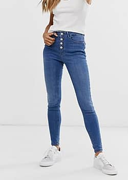 b.Young skinny jeans with button fly-Blue