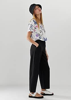 b.Young straight leg trousers-Black