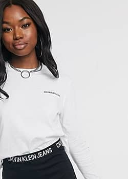 Calvin Klein Institutional long sleeved cropped logo t-shirt-White