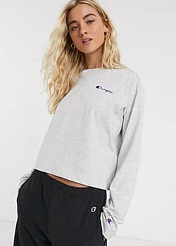 cropped long sleeve t-shirt with chest logo-Grey
