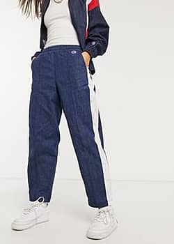reverse weave denim track joggers co-ord-Blue