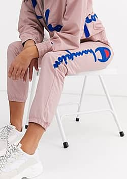 reverse weave joggers with large logo co-ord-Pink