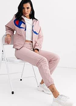 reverse weave zip front track top with large logo co-ord-Pink