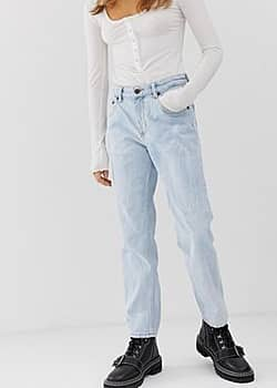 mom jeans with cropped leg with organic cotton-Blue
