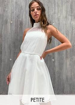 Chi Chi London baby prom dress with sheer detail in white