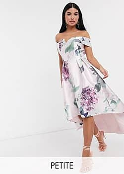 Chi Chi London bardot midi prom dress in floral-Multi