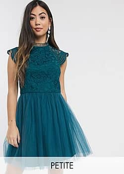 Chi Chi London cut out detail tulle mini dress in emerald green