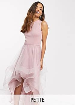 Chi Chi London high low organza prom dress in mink-Multi