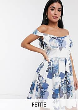 Chi Chi London off shoulder mini prom dress in blue print-Multi