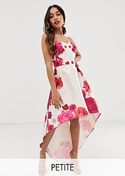 Chi Chi London printed mini prom skater bandeau dress in floral-Multi