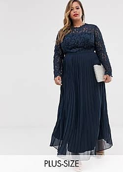 lace maxi dress with scalloped back in navy