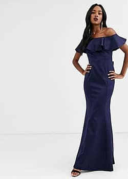 bardot frill satin maxi dress with bow detail-Navy